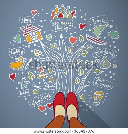 Woman draw dreams and planning life. Color illustration.  - stock photo