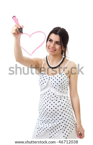 Woman draw pink heart with pen and smile - stock photo