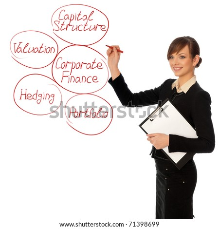 Woman drawing a business diagram of corporate finance for business development - stock photo