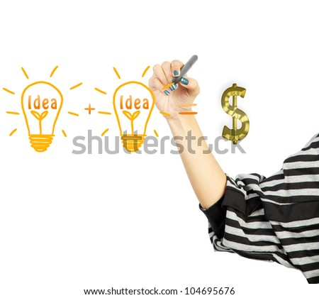 woman drawing light bulb idea and dollar symbol - stock photo