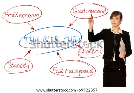 Woman drawing the scheme of concept blue chip for moving business - stock photo