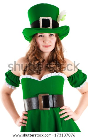 woman dressed as leprechaun isolated on white background
