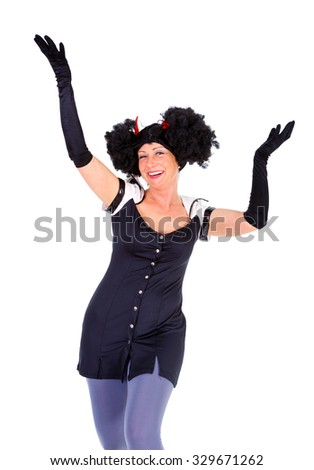 Woman dressed in Halloween costum carnaval, show emotions on white isolated background - stock photo