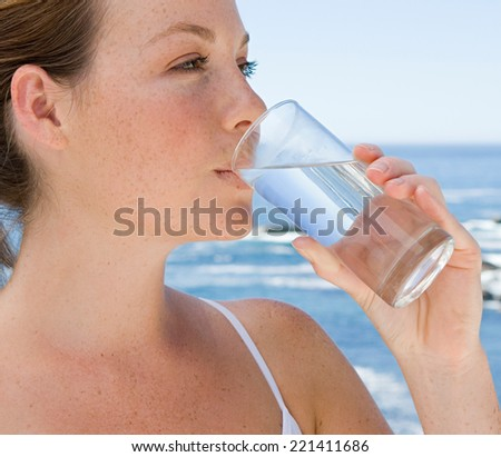 woman drink water - stock photo