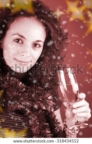 Woman drinking champagne . Happy new year! - stock photo