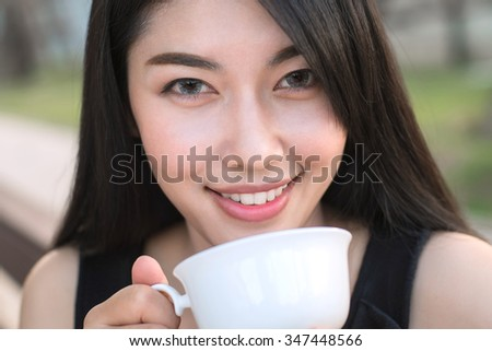 Woman drinking coffee for relaxed. - stock photo