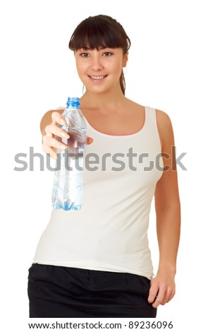 Woman drinking water from bottle, isolated on white background