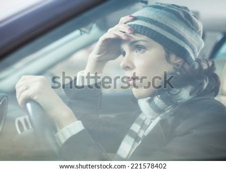 Woman driving - stock photo