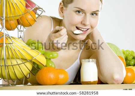 woman during breakfast - stock photo