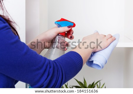 Woman during cleaning white bookstand at home - stock photo