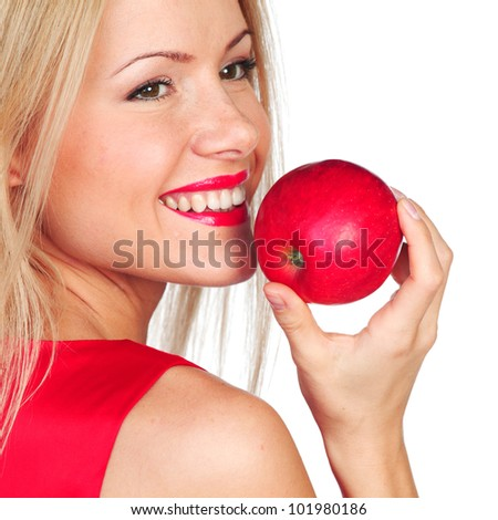 woman eat red apple on white