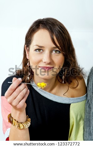 Woman eating a pie