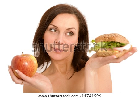 Woman Eating Burger - stock photo
