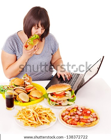 Woman eating fast food at social network. Isolated. - stock photo