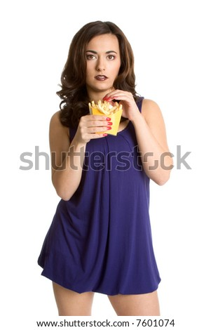 Woman Eating Fries