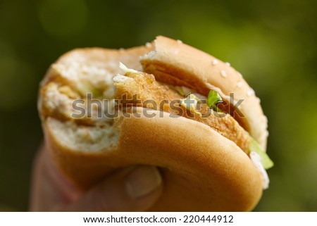 woman eating hamburger - stock photo