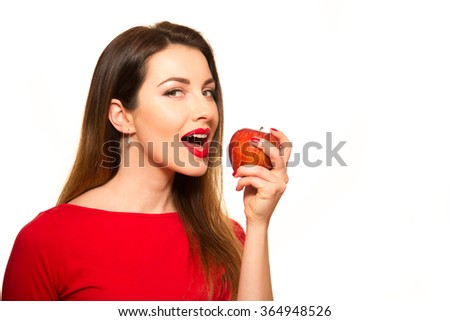 Woman Eating Red Apple Fruit Smiling Isolated on White Background - stock photo
