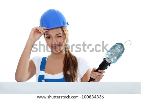Woman electrician - stock photo