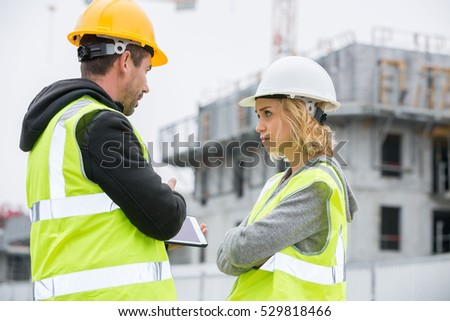 Woman engineer checking production