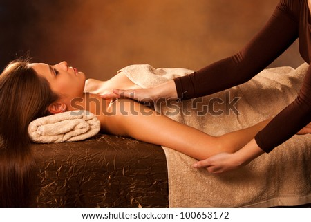 woman enjoy in  arm  massage in spa - stock photo
