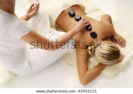 Woman Enjoying Massage - stock photo