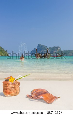 WOman enjoying the sea in Phi Phi island Thailand - stock photo