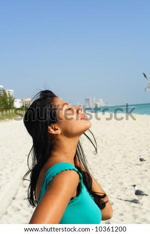 Woman Enjoying the Sun - stock photo