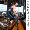 Woman exercise workout at gym - stock photo