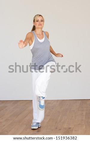 Woman Exercising In Dance Studio - stock photo