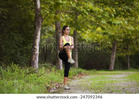 Woman exercising in outdoor - stock photo