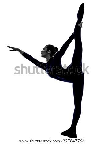 woman exercising Natarajasana dancer pose yoga silhouette shadow white background - stock photo
