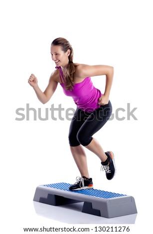 woman exercising workout fitness aerobic exercise - stock photo
