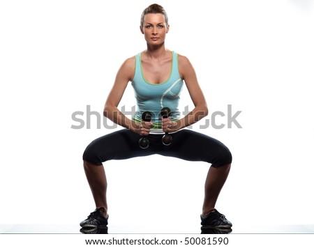 woman exercising workout on white background - stock photo