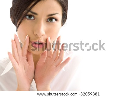 woman expression on background - stock photo