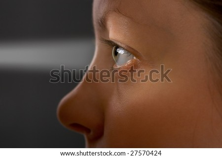 Woman eye and light, concept background - stock photo