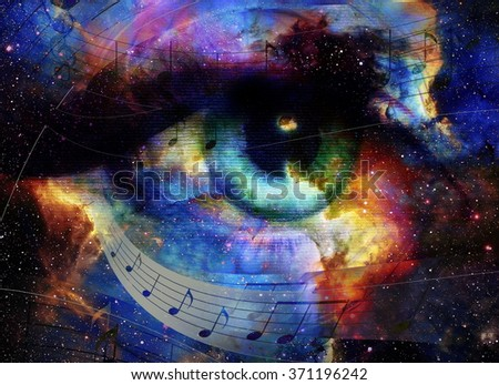 Woman Eye and music note and cosmic space with stars. abstract color background, eye contact. - stock photo