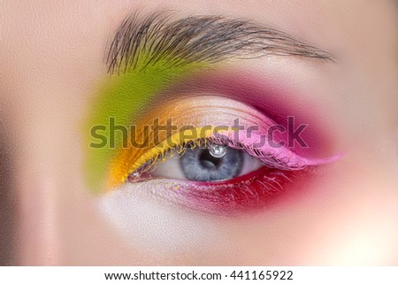Woman eye with beautiful makeup closeup