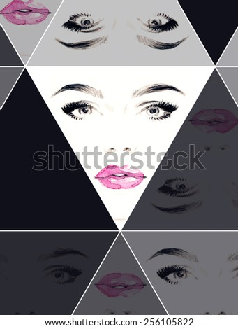 woman face .abstract watercolor .fashion background - stock photo