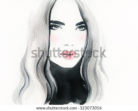 woman face. abstract watercolor .fashion background - stock photo