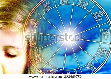 woman face and astrological chart - stock photo