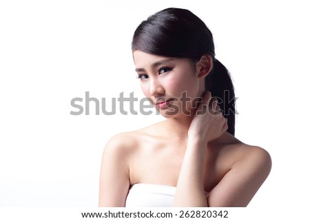 woman face and shoulder problem - unhappy woman profile isolated on white background. asian Beauty
