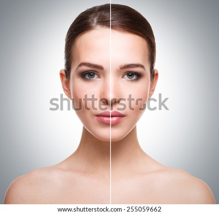 Woman face before and after retouch - stock photo