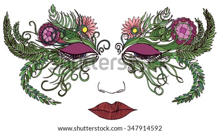 Woman face in a mask of colorful flowers