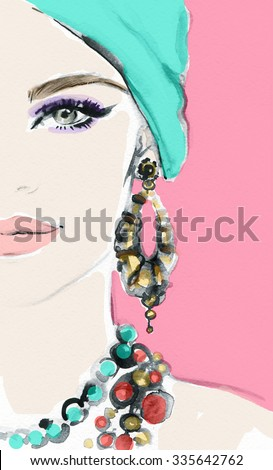 Woman face. Jewelry and Beauty. Fashion illustration - stock photo