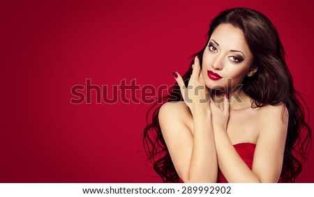 Woman Face Nails on Red, Fashion Model Makeup Long Black Hair, Girl Beauty Portrait - stock photo