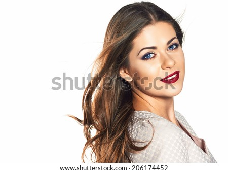 Woman face portrait isolated on white background. - stock photo