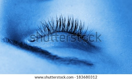 Woman Face With Closed Eye - stock photo