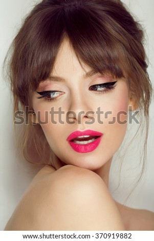 Woman face with hair motion pink lipstick, smile - stock photo