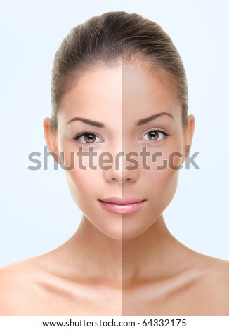 Woman face with half tan skin. Beautiful asian caucasian woman portrait on blue background.