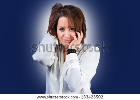 Woman faces with problems - stock photo